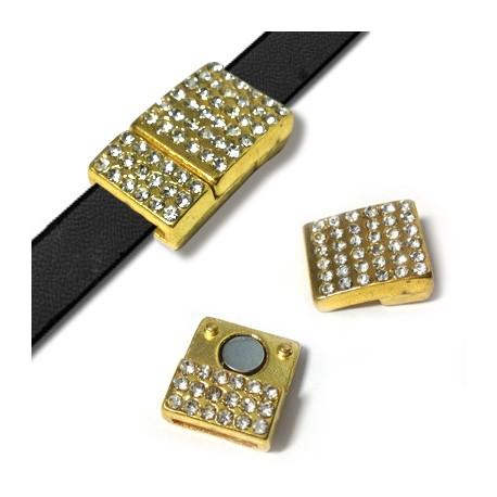 Z/A Rectangular Magnet Clasp with Rhinestones12x21mm (Ø 10χ2mm)