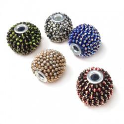 Perle en Métal/Laiton couverte en chaîne strassée 16x14mm