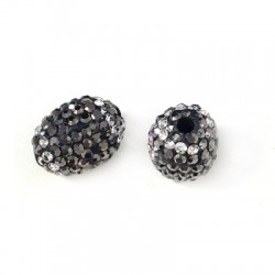 Oval Bead 10x13mm with Strass