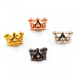 Brass Bead Crown 7x11mm with Zircon