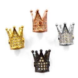 Brass Slider Crown 9x12mm with Zircon