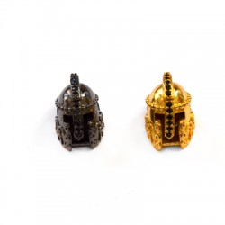 Brass Slider Helmet 12x14mm with Zircon