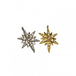 Brass Charm Star with Zircon 12x18mm