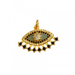 Brass Pendant Eye w/ Zircon 23x43mm