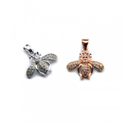 Brass Charm Bee w/ Zircon 18x17mm