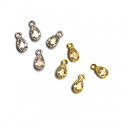 Brass Charm Tear w/ Zircon 4.5x6.5mm