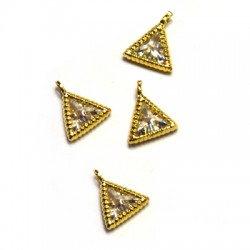 Brass Charm Triangle w/ Zircon 8x7mm