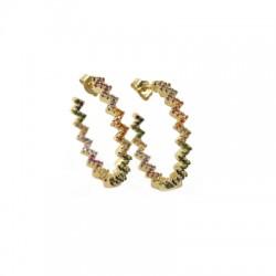 Brass Earrirng Hoop w/ Zircon 4x27mm