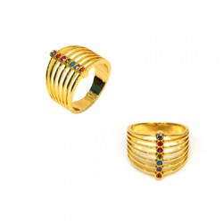 Brass Connector Ring w/ Zircon 21mm