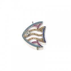 Μεταλλικό Μπρούτζινο Στοιχείο Ψάρι με Ζιργκόν 21x19mm