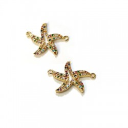 Brass Connector Starfish w/ Zircon 19x20mm