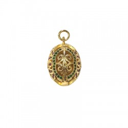 Brass Charm Oval w/ Zircon 17x21mm