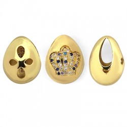 Brass Charm Oval Crown w/ Zircon 15x19mm