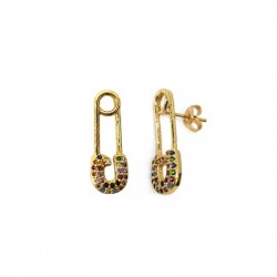 Brass Earring Safety Pin w/ Zircon 9x22mm