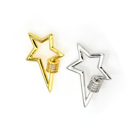 Brass Clasp Lock-Locket Star w/ Zircon 22x27mm