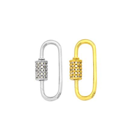 Brass Clasp Lock-Locket Oval w/ Zircon 12x25mm