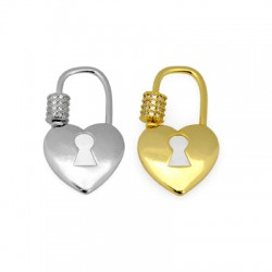 Brass Clasp Lock-Locket Heart w/ Zircon 17x29mm