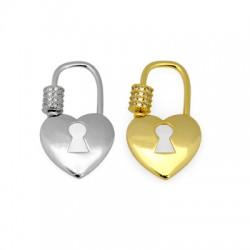 Μεταλλικό Μπρούτζινο Κούμπωμα Καρδιά με Ζιργκόν 17x29mm