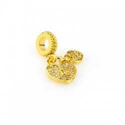 Brass Charm Hearts w/ Zircon 14x24mm