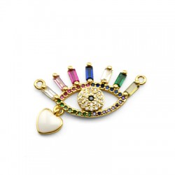 Brass Connector Eye Heart w/ Zircon & Enamel 21x16mm