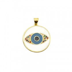 Brass Charm Round Eye w/ Zircon & Enamel 20mm