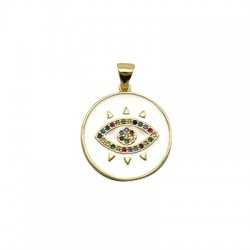 Brass Charm Round Eye w/ Zircon & Enamel 21mm