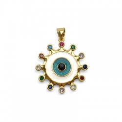 Brass Charm Round Eye w/ Zircon & Enamel 23mm