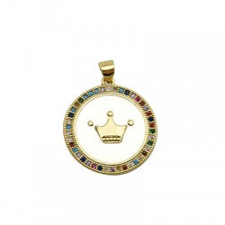 Brass Charm Round Crown w/ Rircon & Enamel 23mm