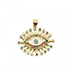 Brass Pendant Eye w/ Zircon & Enamel 23x27mm