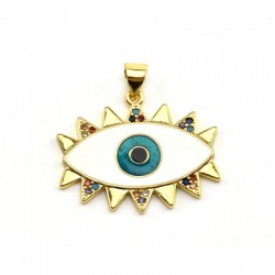 Brass Pendant Eye w/ Zircon & Enamel 21x25mm