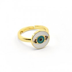Brass Ring Round w/ Eye Zircon & Enamel 21x13mm