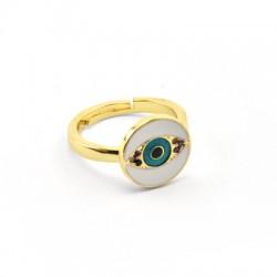 Μεταλλικό Μπρούτζινο Δαχτυλίδι Μάτι Ζιργκόν Σμάλτο 21x13mm