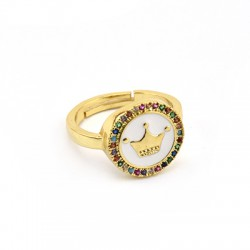 Brass Ring Round w/ Crown Zircon & Enamel 21x14mm