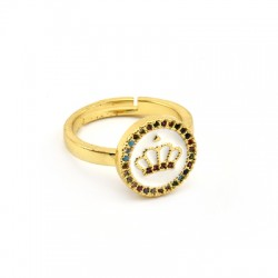 Brass Ring Round Crown w/ Zircon & Enamel 21x13mm