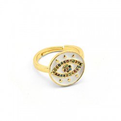 Brass Ring Round Eye w/ Zircon 21x15mm