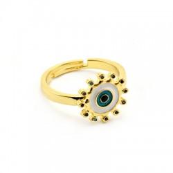 Μεταλλικό Μπρούτζινο Δαχτυλίδι Μάτι με Ζιργκόν 21x13mm