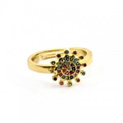 Brass Ring Round w/ Zircon 22mm