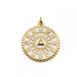 Brass Charm Round Triangle w/ Zircon & Enamel 22mm