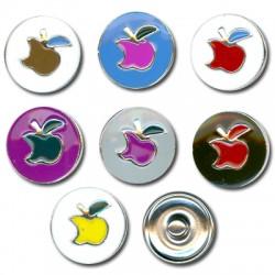 Μεταλλικό Κουμπί Μήλο με Σμάλτο 18mm (7τμχ/πακέτο) (κατάλληλο για βραχιόλι 2.72735)