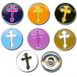 Button Enamel Cross 18mm (7pcs)