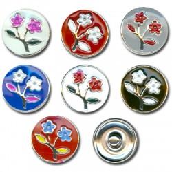 Μεταλλικό Κουμπί Λουλούδια με Σμάλτο 18mm (7τμχ/πακέτο) (κατάλληλο για βραχιόλι 2.72735)