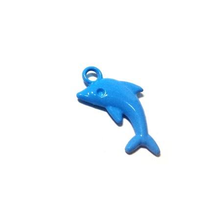 Zamak Painted Casting Charm Dolphin 23.5x12mm
