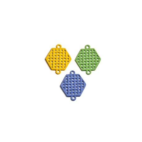 Μεταλλικό Ζάμακ Χυτό Εξάγωνο Επικ. Καουτσούκ Μακραμέ 19x17mm
