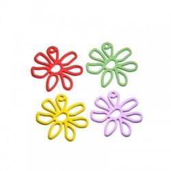 Μεταλλικό Ζάμακ Χυτό Μοτίφ Λουλούδι Επικάλυψη Καουτσούκ 25mm