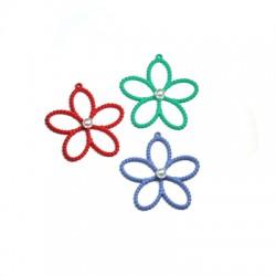 Zamak Rubber Effect Pendant Flower w/ Pearl 30mm