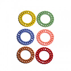 Zamak Rubber Effect Pendant Circle Chain 20mm