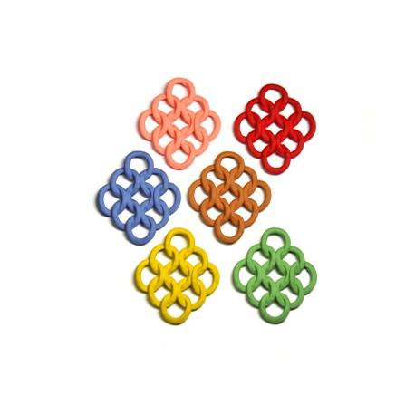 Μεταλλικό Ζάμακ Χυτό Μοτίφ Επικάλυψη Καουτσούκ Ρόμβος23x27mm