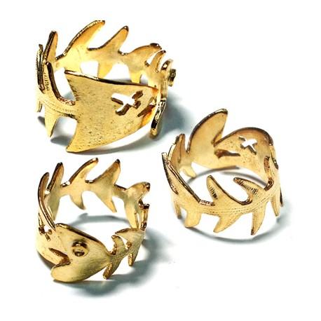 Μεταλλικό Μπρούτζινο Χυτό Δαχτυλίδι Σεβαλιέ Ψάρι 60x12mm
