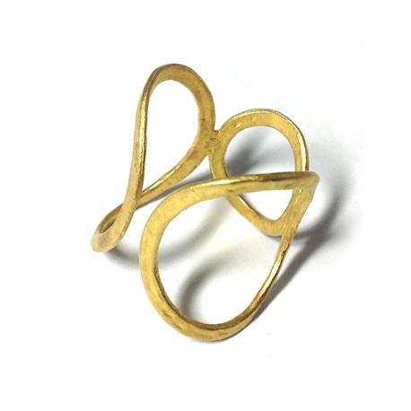 Μεταλλικό Μπρούτζινο Χυτό Δαχτυλίδι με Κύκλους 19x17mm