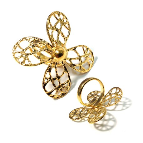 Brass Cast Ring Flower 40mm